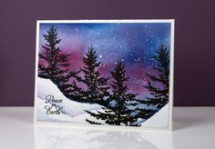 I recently taught a card class where we created Christmas cards featuring the northern lights over snowy landscapes. Everyone's scenes looked different as there was a variety of inks to choos… Create Christmas Cards, Xmas Cards, Christmas Art, Handmade Christmas, Holiday Cards, Christmas Lights, Christmas Abbott, Christmas Island, Christmas Vacation
