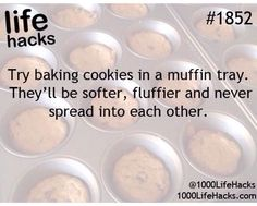 Try baking cookies in a muffin tray. They'll be softer, fluffier, and never spread into each other.