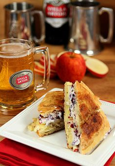 Brie and Apple Grilled Cheese Sandwich with Cranberry and Mustard Mayonnaise