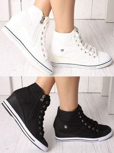 High Top Wedges Heels Lace-Up Ankle Fashion Sneakers Women Shoes US SZ 4.5~8 #Unbranded #LaceUps