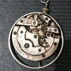 Antique E. Huguelet Watch Movement Necklace by The Victorian Magpie