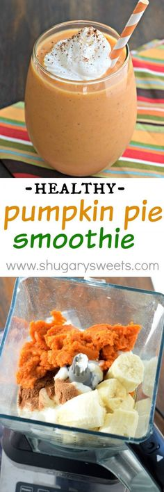 Whip up one of these delicious Pumpkin Pie Smoothies for breakfast today! The perfect, healthy way to start your day (or recover after a workout)! Healthy Pumpkin Smoothie, Healthy Pumpkin Desserts, Healthy Smoothie Recipes, Healthy Fall Recipes, Organic Pumpkin Pie Recipe, Healthy Breakfast Smoothies, Smoothies For Dinner, Clean Pumpkin Recipes, Dinner Smoothie