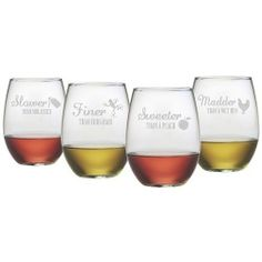 Susquehanna Glass Co. Girl Talk Wine Glasses (Set of Girl Talk Wine Glasses: Set of four assorted stemless wine glasses Measurements: Each holds 21 oz. Material: Glass Care: Hand wash recommended Brand: Susquehanna Glass Co. Heavens To Betsy, Southern Sayings, Growing Grapes, Wine Glass Set, Stemless Wine Glasses, Boutique, Wine Drinks, Beverages, Joss And Main