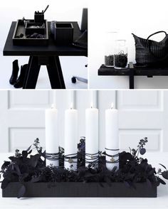Centerpiece ~ Foliage sprayed black with white candles <3