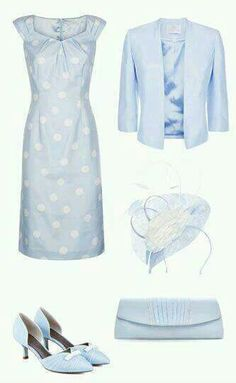 Matching Occasion Outfits for Weddings Race Days and other Special Occasions Jacques Vert Polka dot pastel blue Classy Outfits, Chic Outfits, Pretty Outfits, Beautiful Outfits, Mother Of Bride Outfits, Mother Of Groom Dresses, Mother Of The Bride, Groom Outfit, Outfit Combinations