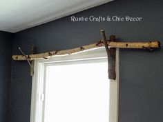 Rustic Crafts & Chic Decor - Renee's discussion on Hometalk. DIY Curtain Rod Idea - An easy and inexpensive rustic curtain rod idea. I like to use straight birch branches with forked branches as brackets. Branch Curtain Rods, Rustic Curtain Rods, Diy Curtain Rods, Wood Curtain, Curtain Ideas, Farmhouse Curtain Rods, Curtain Rod Brackets, Farmhouse Curtains, Drop Cloth Curtains