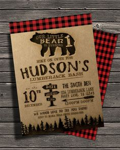 Check out this item in my Etsy shop https://www.etsy.com/listing/254765223/lumberjack-birthday-invitationred