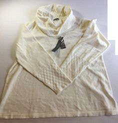 Womens JM Collection Plus Size 3X Soft Sweater Slouch Neck Top Cream Ivory NWT #JMCollection #Sweater