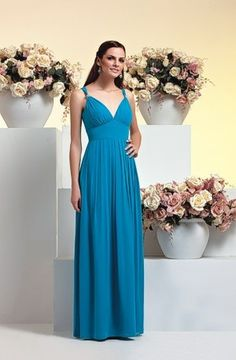 Long Chiffon Bridesmaid Dress Gown  empire waist  sheath dress sheath gown