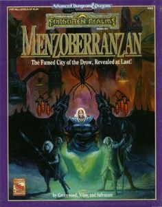 Menzoberranzan 2nd edition Forgotten Realms AD&D boxed set. Covers the home, culture and religion of the Drow, a race of Dark Elves that live below the surface. Released in 1992