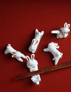 Rabbit chopstick rest by TADA Toshiko, Japan