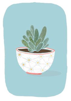 Watercolor potted succulent illustration by Mia Dunton Plant Illustration, Botanical Illustration, Graphic Illustration, Guache, Cactus Print, Cactus Y Suculentas, Illustrations And Posters, Cute Art, Painting