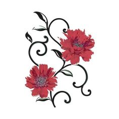 Brewster 350-0117 Red Flowers Wall Decals Red Flowers Home Decor Wall ($31) ❤ liked on Polyvore featuring home, home decor, wall art, red flowers, wall decals, wallpaper, flower wall stickers, vinyl wall decals, red wall art and wall stickers
