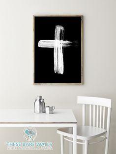 Cross Printable Wall Art - White Cross   Religious Art Print   Holy Cross   Religious Print   Religious Decor   Cross Decor   Home Decor   White on Black