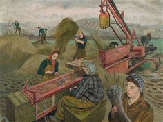 Evelyn Dunbar   Baling Hay 1943   National Museum of Wales   The Land Girls..are pitchforking .. hay into a hopper, in which the hay is compressed. A guillotine suspended above the hopper, drops down to slice the compressed hay into the required length; a belt-driven rack inches the bales forwards to where two Land Girls .. are ready to tie the ... bales with prepared wires, using pliers to twist the wire securely and to remove excess   Text © Christopher Campbell-Howes 2012. All rights…