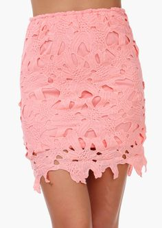 Sea coral lace pencil skirt
