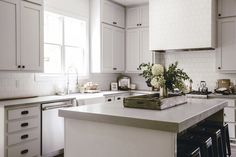 white and grey farmhouse kitchen with thick slab concrete look quartz countertops / heirloomed Kitchen With Big Island, Big Kitchen, Family Kitchen, Rustic Kitchen, Kitchen Ideas, Modern Farmhouse Kitchens, Cool Kitchens, Vintage Farmhouse, Country Kitchens