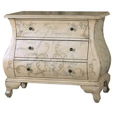 Night stands  Found it at Wayfair - Bombe 3 Drawer Chest in White
