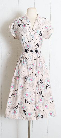 03c8581a5bf Vintage 1940s Dress vintage 40s rose print dress soft 50 Style Dresses