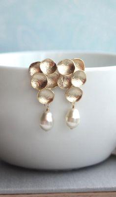 Gold Grape, Ivory Teardrop Pearls Earrings. Ivory Pearls Matte Gold Earrings. Flower Earring. Bridesmaid Gift From Marolsha.