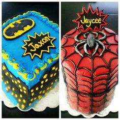 Batman & Spiderman  Superhero boys birthday cakes made for my twin boys!