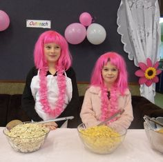 Susan's little pink helpers at her Breakfast