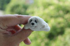Baby Harp Seal brooch, Cute baby animal,dry felting wool, brooch exclusive, live brooch unique, funny gift, eco-souvenir, wildlife, ,