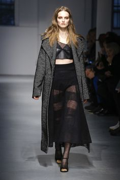 Sheer mohair knit skirt- Les Copains Fall 2017 Ready-to-Wear Collection Photos - Vogue