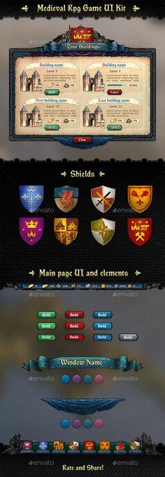 Medieval RPG UI Kit Template PSD. Download here: http://graphicriver.net/item/medieval-rpg-ui-kit/15074959?ref=ksioks