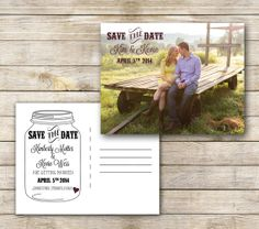 Save the Date Mason Jar Postcard -  Digital file on Etsy, $12.00