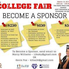 CALLING ALL BUSINESS!! HERE IS A GREAT OPPORTUNITY TO SUPPORT YOUTH AS THEY PREPARE FOR COLLEGE WHILE ADVERTISING YOUR BUSINESS AT THE SAME TIME.  Inbox me if you would like to become a sponsor.  #CollegeFair2017 #KaKY #SMB #SPBC #SaintPaulsCommunityFoundation