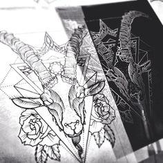 Ziegenkopf, Tattoo, Rosen