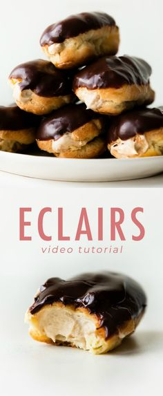 Delicious and easy eclairs with homemade choux pastry! Fill with peanut butter mousse and top with rich chocolate ganache for a decadent French pastry treat! Recipe on sallysbakingaddic...