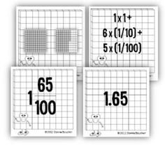 Common Core: Decimals & Fractions Using Models and Manipulatives. Students will explore the relationships between whole numbers, fractions, and decimals numbers using familiar models--money and base-ten blocks.   Includes place value mats and workstations cards featuring multiples representations. 11 different student activities. Bingo and I Have/Who Has game. $