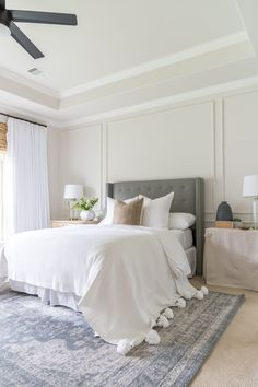 Summer Home Tour Master Bedroom - Crazy Wonderful white moroccan blanket, grey tufted headboard, neutral bedroom Ivory Bedroom, Warm Bedroom, Home Decor Bedroom, Bedroom Wall, Giraffe Bedroom, Grey Carpet Bedroom, Bedroom Ideas, Bedroom Windows, Bedroom Colors