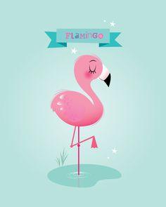 Chica vivero pared Flamingo lámina arte para por IreneGoughPrints