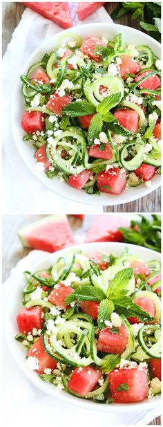 Cucumber Noodle, Watermelon, and Feta Salad Recipe on twopeasandtheirpod.com This simple and refreshing salad is perfect for summertime.
