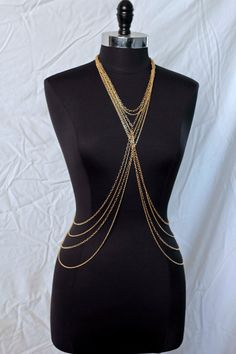 Gold Chained  gold metal body chain necklace by SheVagabond, $40.00 #bodychain #bellychain