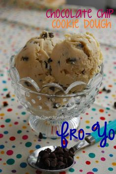 cookie dough frozen yogurt made with greek yogurt!