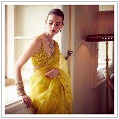 Sabyasachi just launched his 2020 new bridal collection. Sabyasachi Sultana Wedding Lehengas come in gorgeous new shades and you& got to see the dupatta! Latest Saree Trends, Latest Sarees, Saree Draping Styles, Saree Styles, Bridal Lehenga Choli, Saree Wedding, Indian Wedding Sarees, Wedding Saree Blouse Designs, Saree Floral