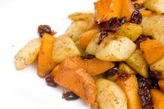 http://www.foodmayhem.com/2009/11/roasted-butternut-squash-pears-and-cranberries.html   Roasted butternut squash, pears and cranberries