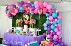 Rainbow dessert spread from a Vibrant Unicorn Birthday Party on Kara's Party Ideas | KarasPartyIdeas.com (16)