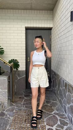 Cute Summer Outfits, Girly Outfits, Cute Casual Outfits, Short Outfits, Spring Outfits, Fashion Outfits, Fashion Lookbook, Look Cool, Aesthetic Clothes