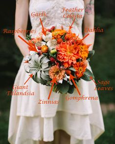 They chose vibrant blooms in shades of orange, salmon, red and plum, and then combined culinary elements such as heirloom tomatoes, baby carrots, eggplants, garlic, raspberries, figs, kale, mint, and sage…and it is a marvelous union designed by Love N Fresh Flowers.