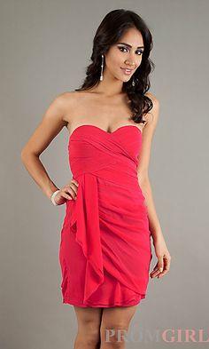 Short White Strapless Dress at PromGirl.com