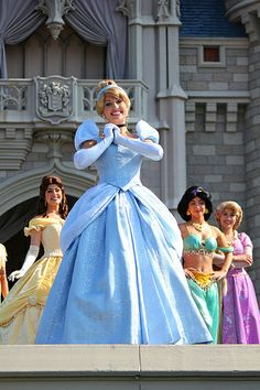 Cinderella in front of her castle