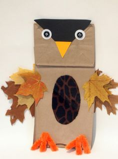 Paper Bag Owl Puppet and more fall crafts Autumn Crafts, Fall Crafts For Kids, Craft Activities For Kids, Thanksgiving Crafts, Preschool Crafts, Holiday Crafts, Kids Crafts, Craft Projects, Craft Ideas