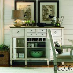 Perfeita harmonia entre o mobiliário vintage e tons verde