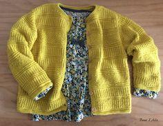Gilet Safran- modèle n°5, catalogue Phildar n°674 – laine Lambswool, Phildar, coloris Citrus - taille 6 ans