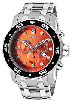 Men's Pro Diver Chronograph Stainless Steel Orange Dial